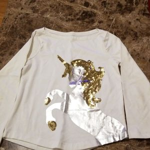 Girls Size S 5/6 Ivory Shirt With Unicorn & Sequin